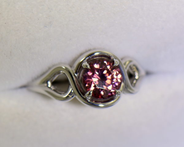 Swirly White Gold Ring with Round Tanzanian Purplish Pink Zircon 5.JPG