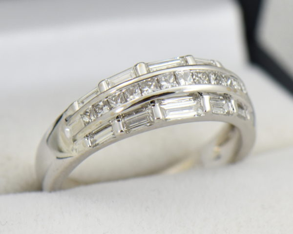 Wide Diamond Channel Band with Princess and Baguettes in 18k 5.JPG