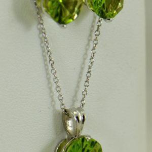 concave cut peridot stud earrings and pendant 14kw 4.JPG