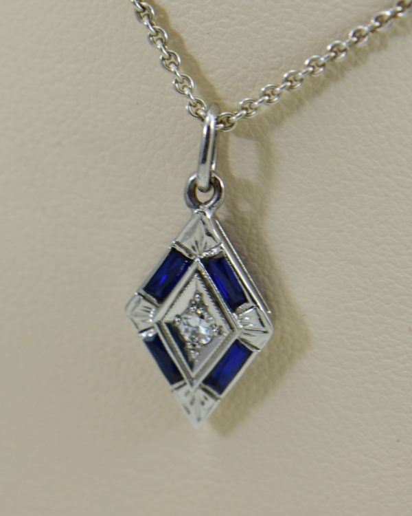 deco trapezoid pendant with diamond and blue sapphires.JPG