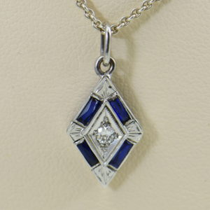 deco trapezoid pendant with diamond and blue sapphires 2.JPG