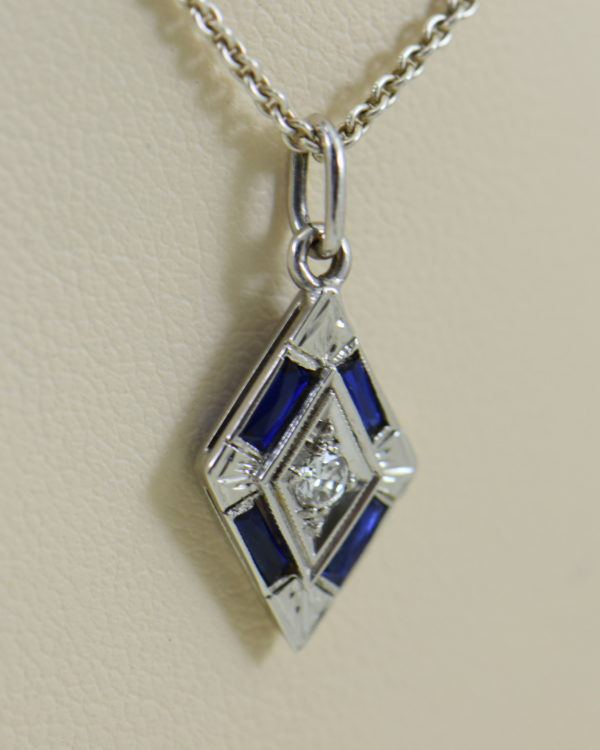 deco trapezoid pendant with diamond and blue sapphires 3.JPG