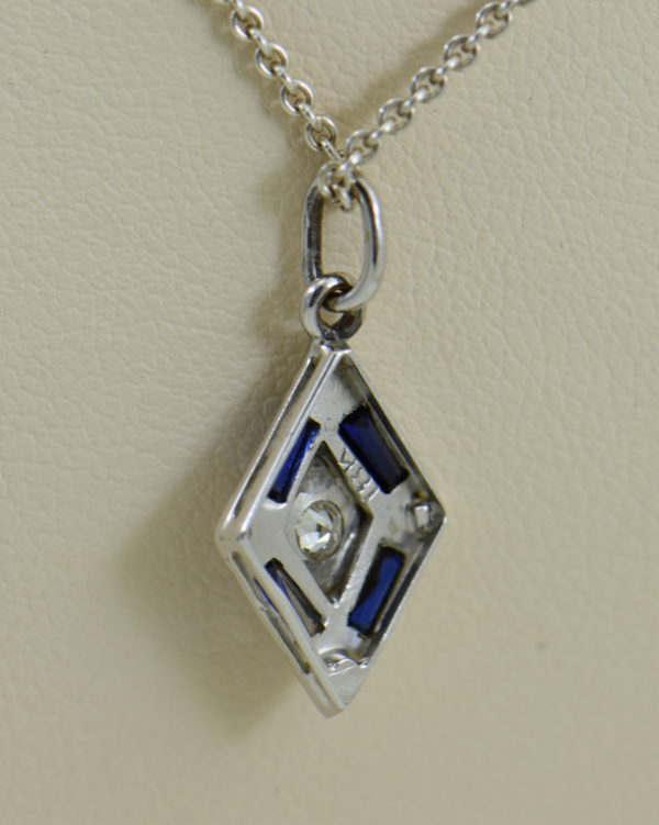deco trapezoid pendant with diamond and blue sapphires 4.JPG