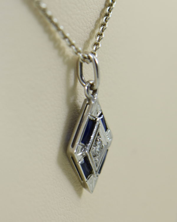 deco trapezoid pendant with diamond and blue sapphires 5.JPG