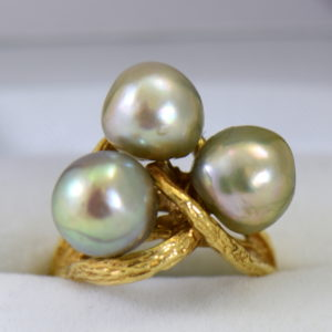 1960s cocktail ring with 3 baroque grey pearls in textured yellow gold.JPG