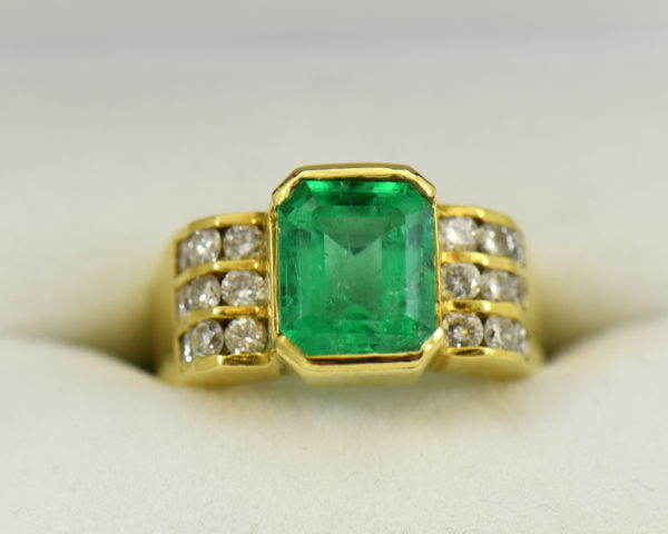 3ct Gem Emerald Ring and Channel Diamond Ring.JPG
