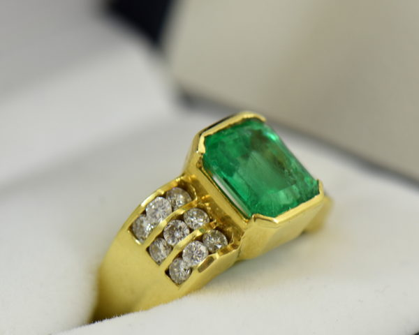 3ct Gem Emerald Ring and Channel Diamond Ring 2.JPG