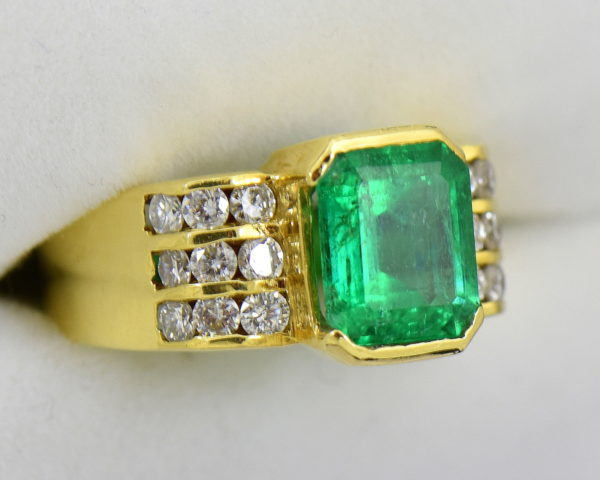 3ct Gem Emerald Ring and Channel Diamond Ring 3.JPG