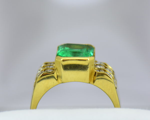 3ct Gem Emerald Ring and Channel Diamond Ring 4.JPG