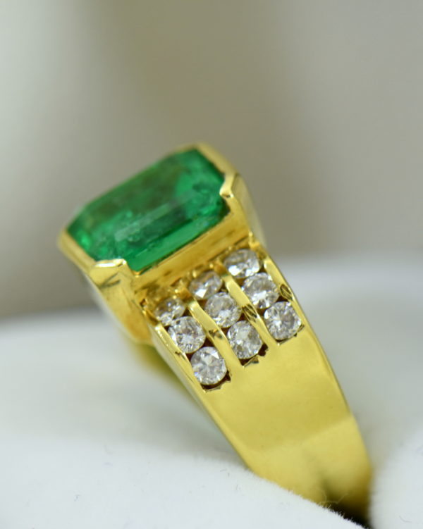 3ct Gem Emerald Ring and Channel Diamond Ring 5.JPG