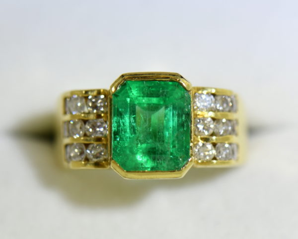 3ct Gem Emerald Ring and Channel Diamond Ring 6.JPG