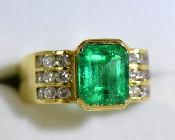 3ct Gem Emerald Ring and Channel Diamond Ring 7.JPG