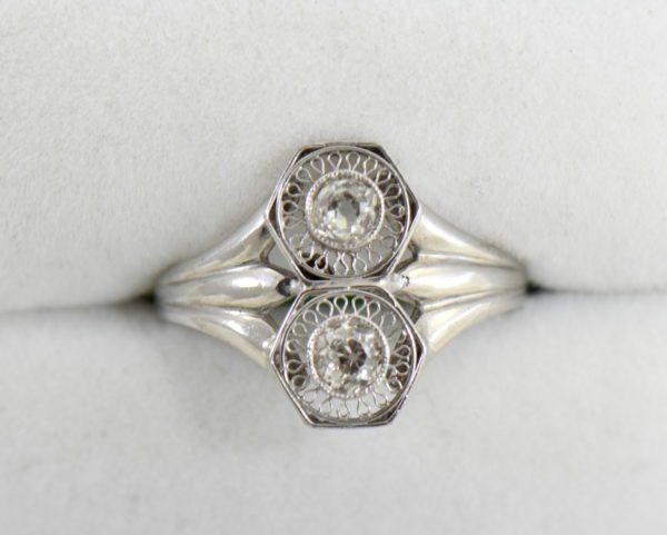 Art Deco Hexagon 2 stone Diamond Ring in Plat and White Gold.JPG