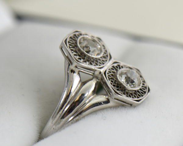 Art Deco Hexagon 2 stone Diamond Ring in Plat and White Gold 2.JPG