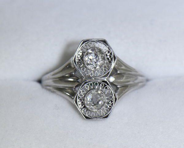 Art Deco Hexagon 2 stone Diamond Ring in Plat and White Gold 4.JPG