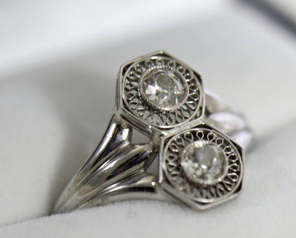 Art Deco Hexagon 2 stone Diamond Ring in Plat and White Gold 5.JPG