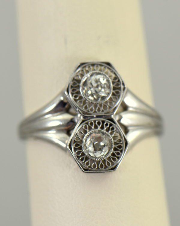 Art Deco Hexagon 2 stone Diamond Ring in Plat and White Gold 7.JPG