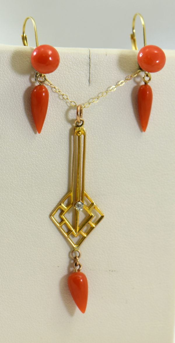 Art Deco Yellow Gold Meditteranean Red Coral Lavalier Earring Set.JPG