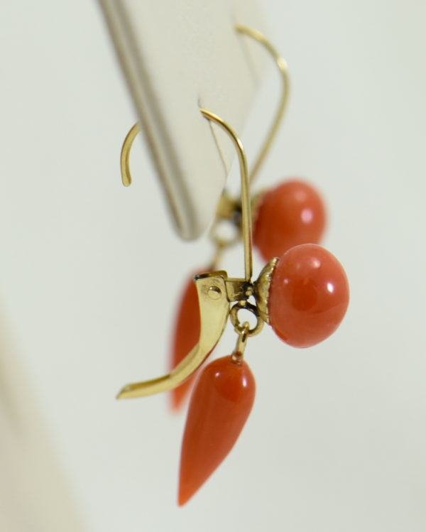 Art Deco Yellow Gold Meditteranean Red Coral Lavalier Earring Set 5.JPG