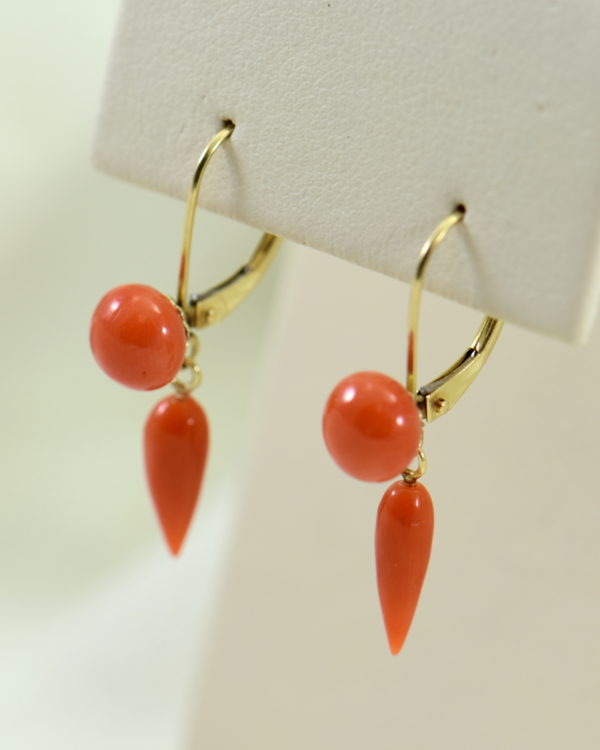 Art Deco Yellow Gold Meditteranean Red Coral Lavalier Earring Set 6.JPG