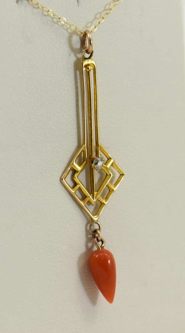 Art Deco Yellow Gold Meditteranean Red Coral Lavalier Earring Set 7.JPG