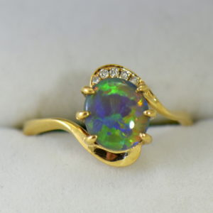 Australian Semi Black Opal set in Yellow Gold Bypass Ring Mounting with Diamond Accents 2.JPG