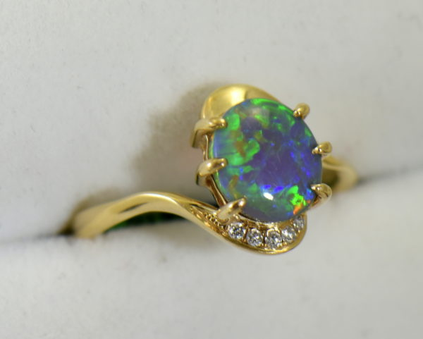 Australian Semi Black Opal set in Yellow Gold Bypass Ring Mounting with Diamond Accents 3.JPG