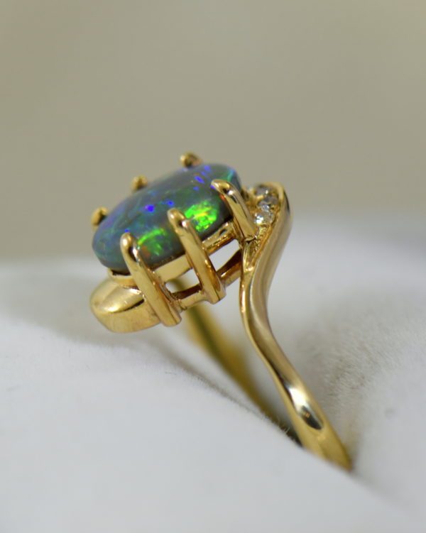 Australian Semi Black Opal set in Yellow Gold Bypass Ring Mounting with Diamond Accents 4.JPG