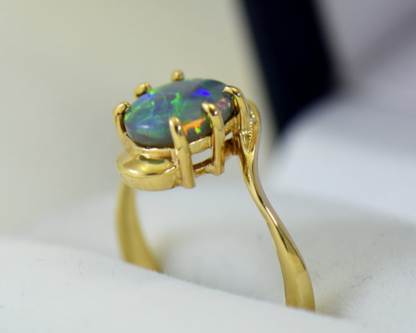 Australian Semi Black Opal set in Yellow Gold Bypass Ring Mounting with Diamond Accents 5.JPG