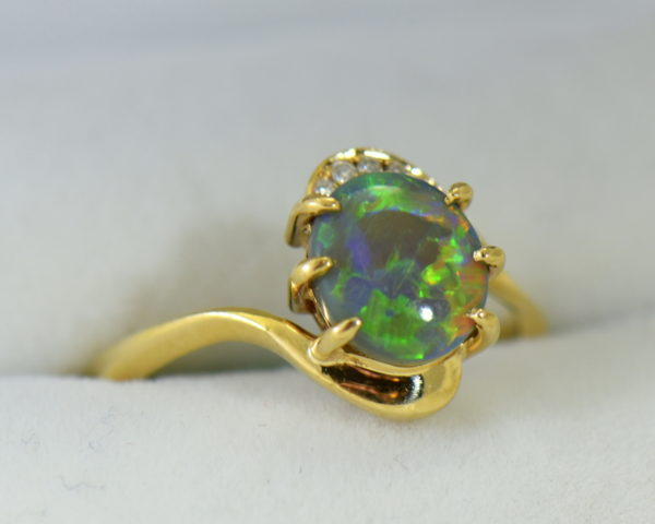Australian Semi Black Opal set in Yellow Gold Bypass Ring Mounting with Diamond Accents 6.JPG