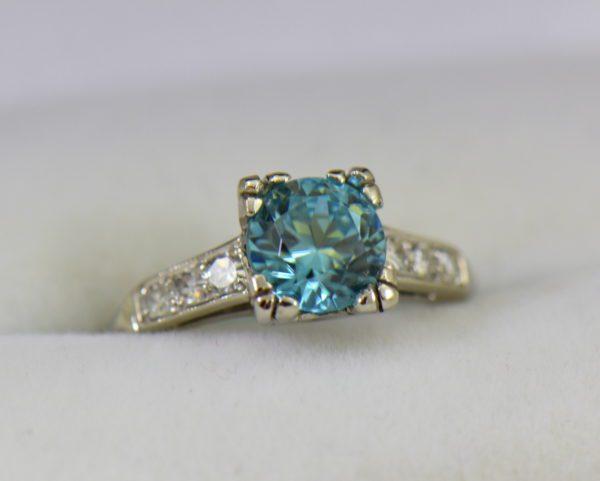 Blue Zircon Platinum Art Deco Ring with fishtail prongs.JPG