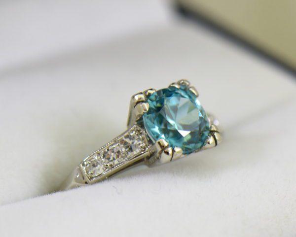 Blue Zircon Platinum Art Deco Ring with fishtail prongs 3.JPG