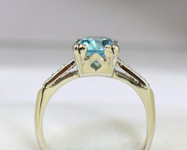 Blue Zircon Platinum Art Deco Ring with fishtail prongs 4.JPG