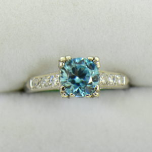 Blue Zircon Platinum Art Deco Ring with fishtail prongs 6.JPG