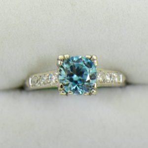 Blue Zircon Platinum Art Deco Ring with fishtail prongs 6.JPG