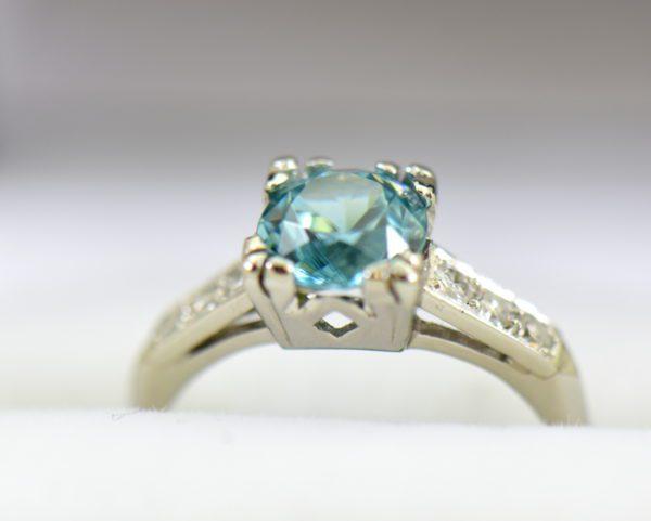 Blue Zircon Platinum Art Deco Ring with fishtail prongs 7.JPG