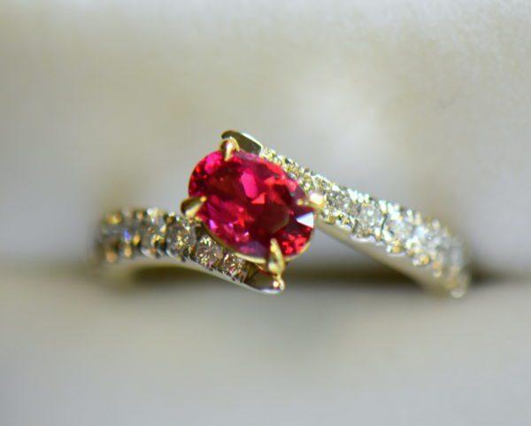 Burmese Neon Redish Pink Spinel set in white gold bypass ring 2.JPG