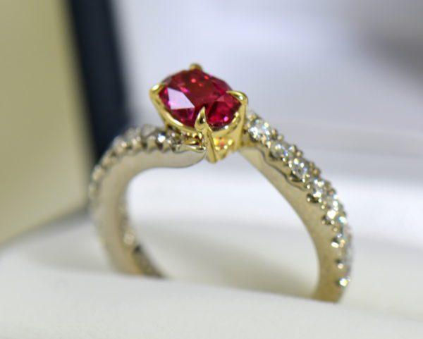Burmese Neon Redish Pink Spinel set in white gold bypass ring 3.JPG