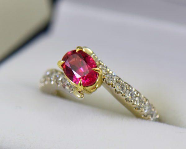 Burmese Neon Redish Pink Spinel set in white gold bypass ring 4.JPG