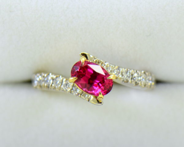 Burmese Neon Redish Pink Spinel set in white gold bypass ring 5.JPG
