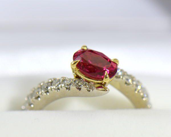 Burmese Neon Redish Pink Spinel set in white gold bypass ring 6.JPG