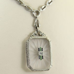 Camphor Glass Diamond Enamel and engraving necklace art deco circa 1930.JPG