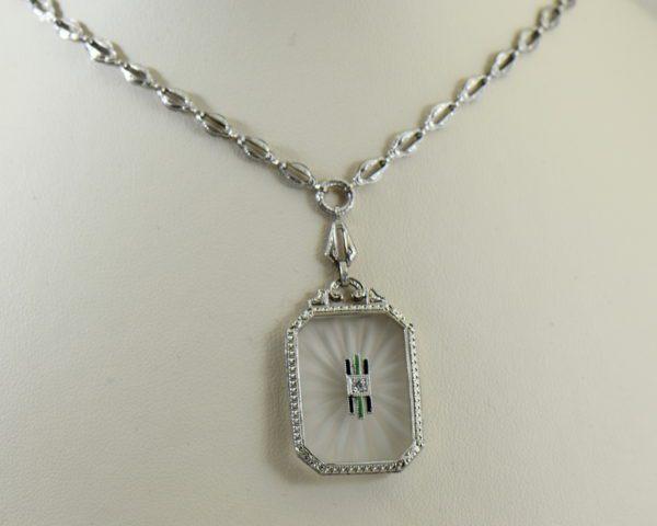 Camphor Glass Diamond Enamel and engraving necklace art deco circa 1930 2.JPG
