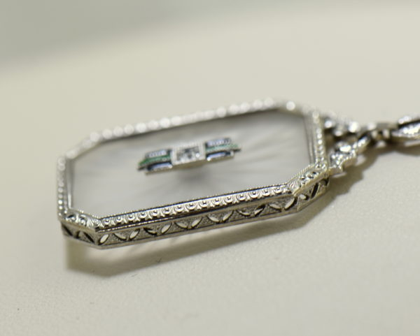 Camphor Glass Diamond Enamel and engraving necklace art deco circa 1930 6.JPG