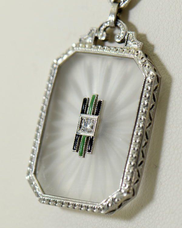 Camphor Glass Diamond Enamel and engraving necklace art deco circa 1930 7.JPG