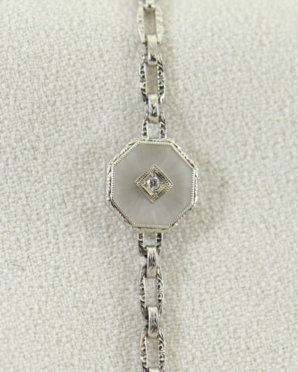 Camphor Glass and Diamond engraved bracelet art deco circa 1930.JPG