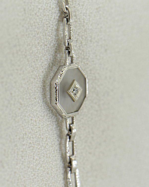Camphor Glass and Diamond engraved bracelet art deco circa 1930 3.JPG