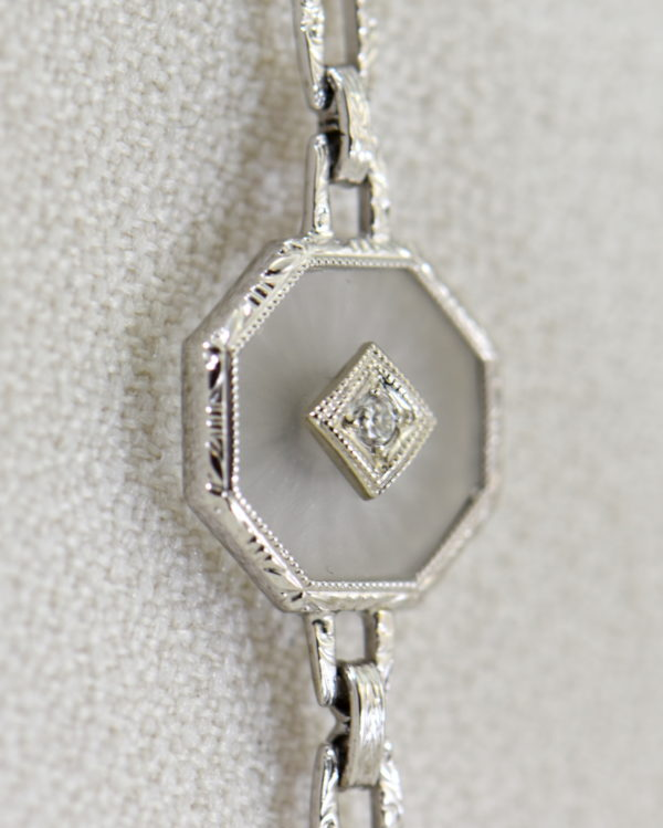Camphor Glass and Diamond engraved bracelet art deco circa 1930 4.JPG