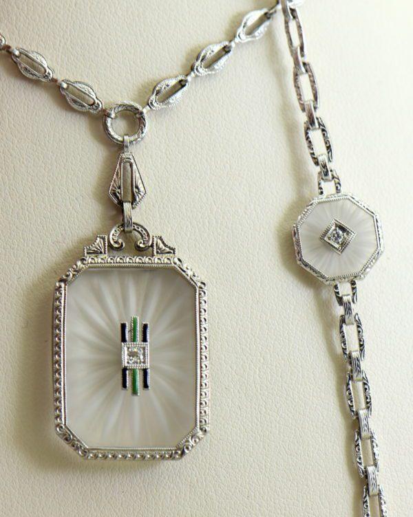 Camphor Glass and Diamond engraved bracelet art deco circa 1930 6.JPG 2