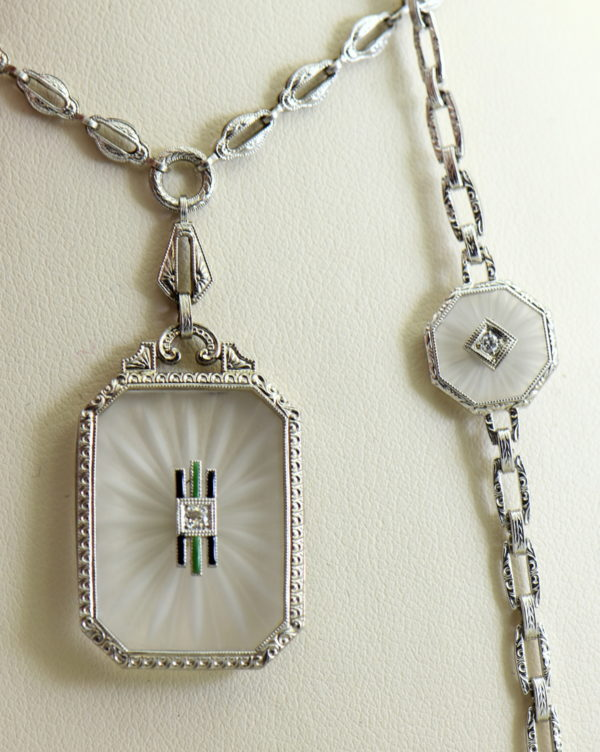 Camphor Glass and Diamond engraved bracelet art deco circa 1930 6.JPG